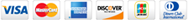 Credit card logos: Visa, Mastercard, American Express, Discover, JCB, and Diner's Club